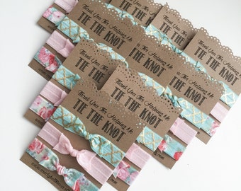 Thank You For Helping Me Tie The Knot, Bridesmaid Hair Ties, Mint Pink Gold Favor, Bridal Shower Gift, Bridesmaid Gift, Be My Bridesmaid