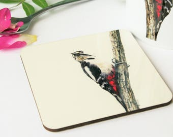 Woodpecker Wildlife Art Coaster