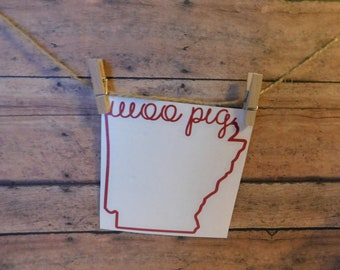 Custom Vinyl Decal   Arkansas Outline with Woo Pig Script   University of Arkansas, UA, Razorbacks, Woo Pig Sooie