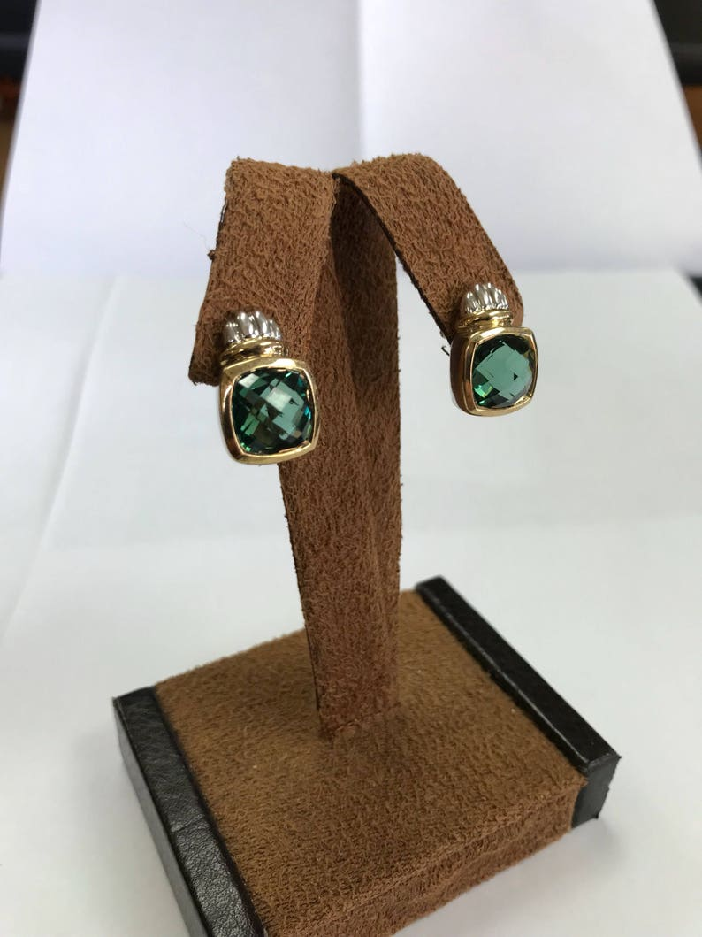 Designer Sterling Silver 925 /& 18kt 750 Two Tone Cable Bezel Set Green Stone Stud Post Style Earrings