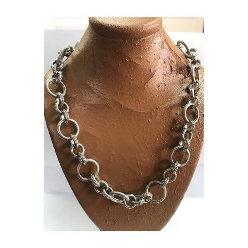 863c309a74030 Designer Judith Ripka Sterling Silver Textured Circle Linked Chain Necklace  W/ Citrine Toggle Clasp, Judith Ripka Necklace, Citrine Toggle