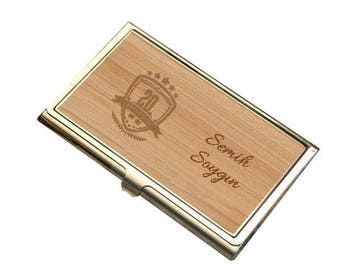 Bamboo business card etsy personalized bamboo veneer business card holder custom name and photo engraved colourmoves