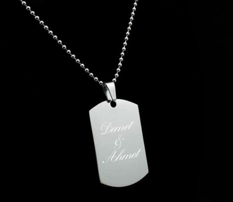 Personalized Stainless Steel Necklace  Engraved Photo And Text