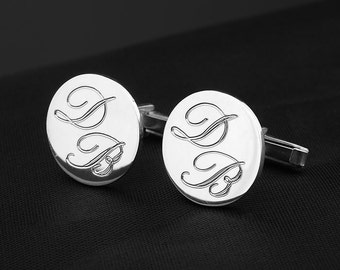 Personalized Silver Plated Cufflinks - Custom Engraved Letters