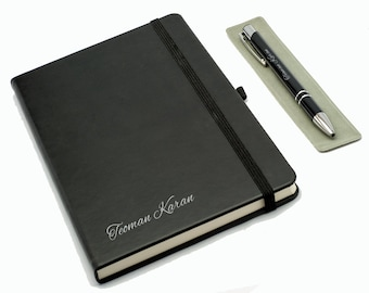 Personalized Notebook and Pen Set - Black / Custom Name Engraved