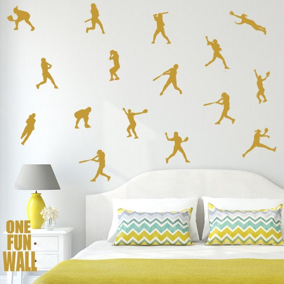 Softball Decals Wall Decor 30 Silhouette Stickers Girls Kids Teen Bedroom  Wall Art Gold Sports Home Decor Removable Vinyl