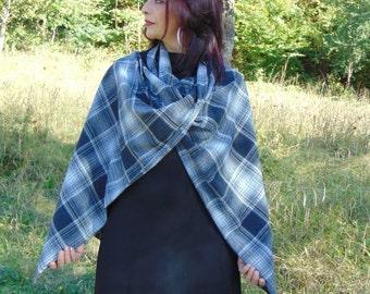 Plaid scarf/Winter scarf/Women scarf/Oversized skarf/Plaid blanket/Wool scarf/Cape/