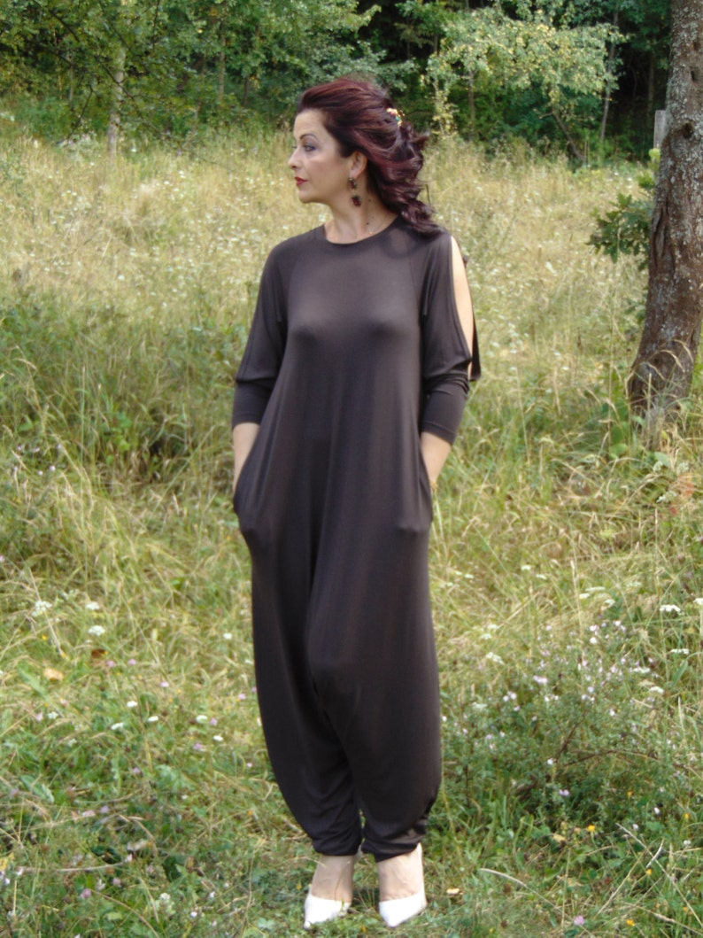 502838220caa Brown Harem Jumpsuit Casual Jumpsuit Overall Union