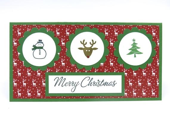 Stampin Up Handmade Christmas Snowman Money Holder Etsy