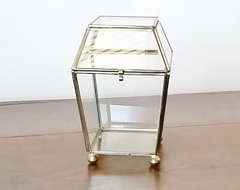 Glass Box with Lid, Glass Display Box, Glass Terrarium, Glass Jewelry Box, Glass and Brass Box, Terrarium Container