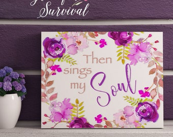 Then Sings My Soul Christian Hymn How Great Thou Art Printable Wall Art Download Boho Purple Hygge Living Room 5x7 8x10 11x14 16x20 Square
