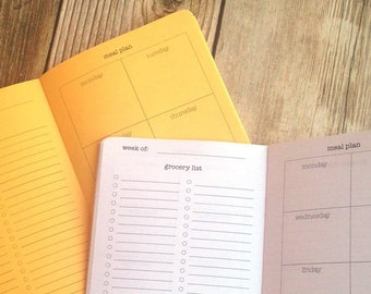MEAL PLANNER Traveler's Notebook Insert  - Choose from 23 colors - 8 sizes available