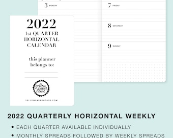 2022 Quarterly Dated HORIZONTAL WEEKLY/Monthly Travelers Notebook Inserts Calendar  B6  B6 slim Pocket Standard Cahier Passport A6 Personal