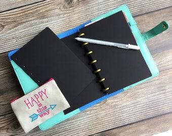 BLACKOUT! Black Planner Paper fits Happy Planner & Levenger Circa size Planners - 30 sheets