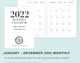 2022 MONTHLY Dated Calendar Travelers Notebook Insert -  Available in Cahier Standard B6 B6 slim A6 Personal Pocket Passport