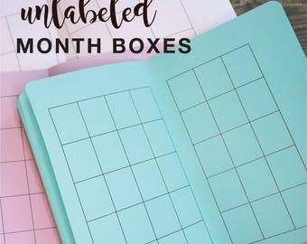 DIY Undated Monthly  Traveler's Notebook Insert   - Choice of 22 colors and 8 sizes