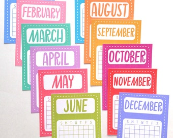 Printable 3x4 Month Calendars - Journal Cards - Instant Download - Planner Scheduling, Journaling, Scrapbooking, Project Life