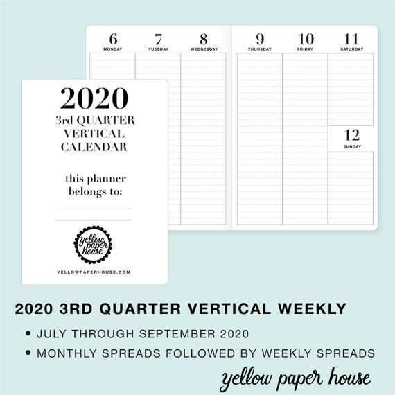 2020 3RD Quarter Dated VERTICAL WEEKLY/Monthly Travelers Notebook Insert  Calendar B6 B6 slim Pocket Standard Cahier Field Notes