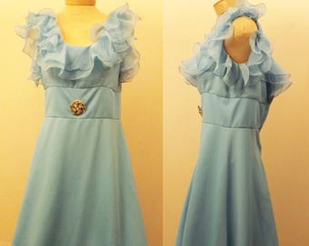 60s  Vintage Blue Crepe Sleeveless Evening Dress or Gown Size 6