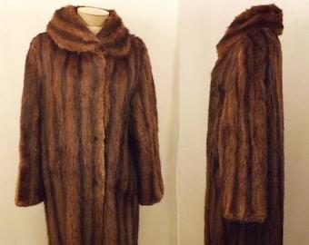 Vintage 40's Striped Mink Fur Coat by Gittelmans Sons Size L