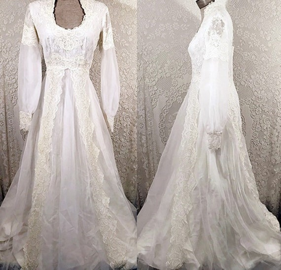 70s Vintage Lace Wedding Gown With Lace Train S