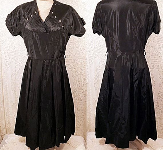50s  Vintage Satin Swing Dress Evening Party Dress
