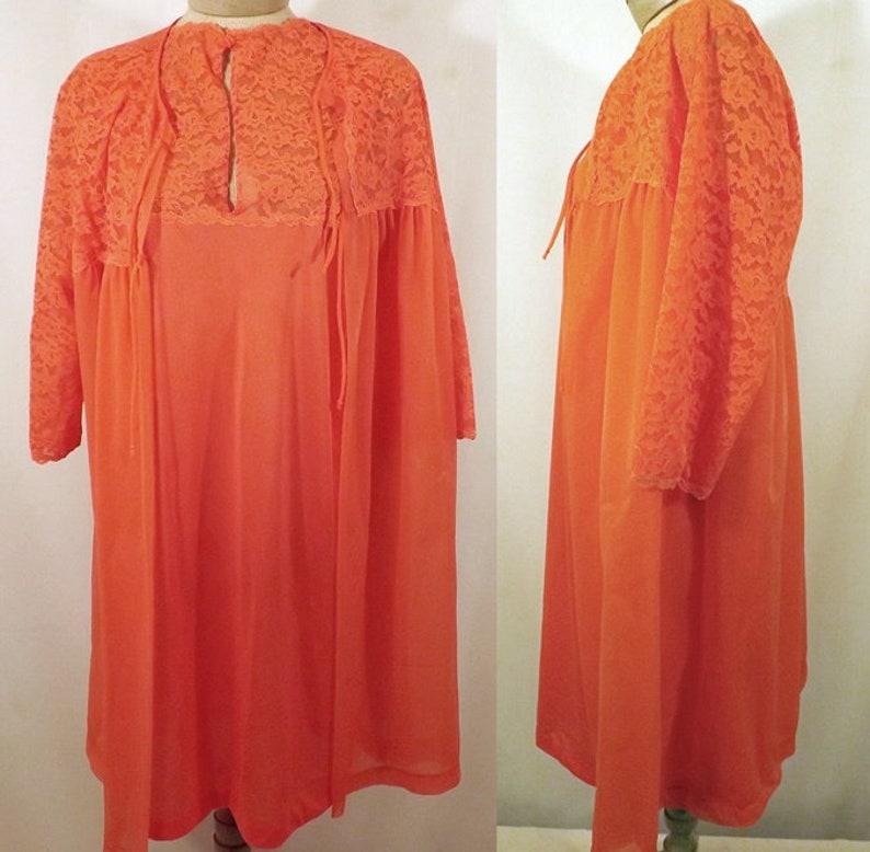 Rare 60/'s Henson Kickernick Atomic Orange Peignoir Set