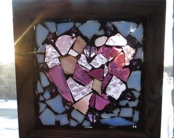 Purple stained glass wood framed mosaic heart. Heart window hanging. Sun catcher. Heart mosaic.