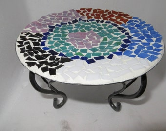 Decorative stained glass mosaic stand. Stained glass candle stand.  Mosaic candle holder.  Candle holders.  Jewelry holder.