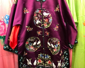 Vintage intricate Chinese hand embroidered robe crane silk embroidery
