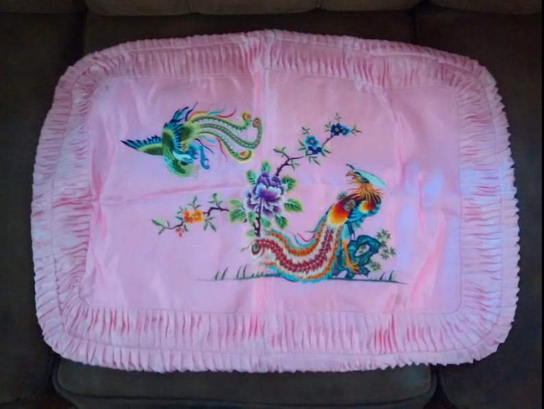 Exquisite Set of two vintage Chinese embroidered colorful Phoenix with peony silk embroidery pillow shams cushion