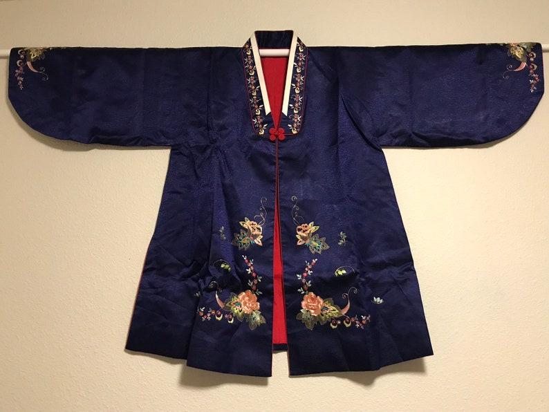 87732740b Vintage Large Korean Women Hanbok blue hand embroidered silk | Etsy