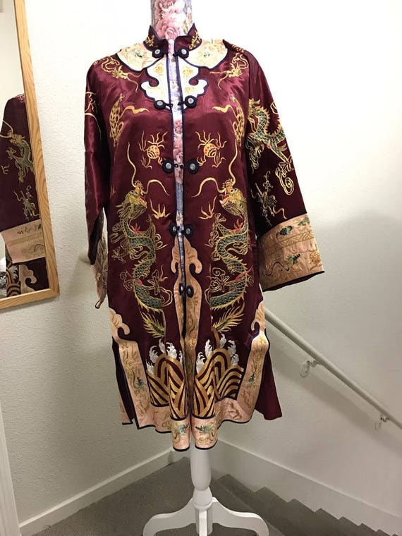 Vintage Beautiful Burgundy Chinese hand embroidered silk robe Asian embroidery jacket costume