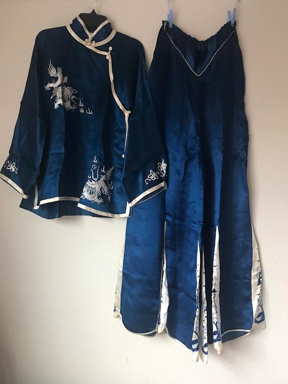 1930s sumptuous chinese silk charmeuse pajama loun