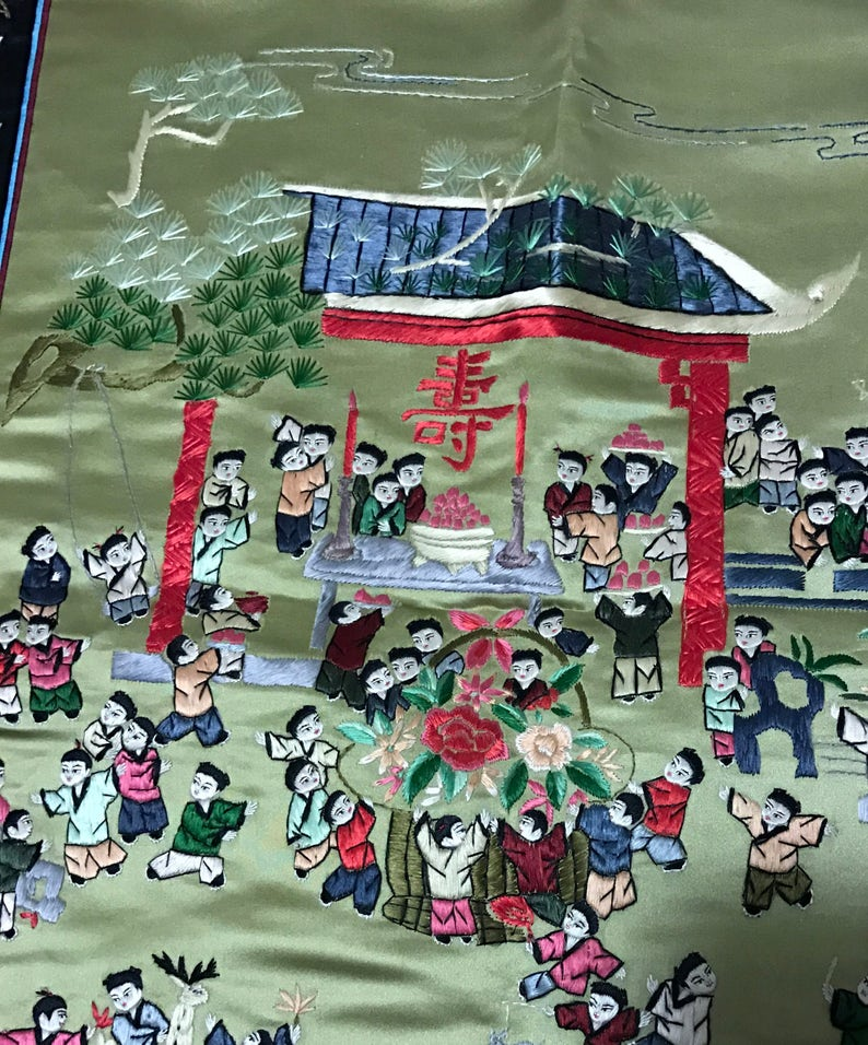 Vintage Big Chinese silk embroidered birthday celebration  hundred children play panel tapestry embroidery vintage Asian Oriental 25\u201dx16