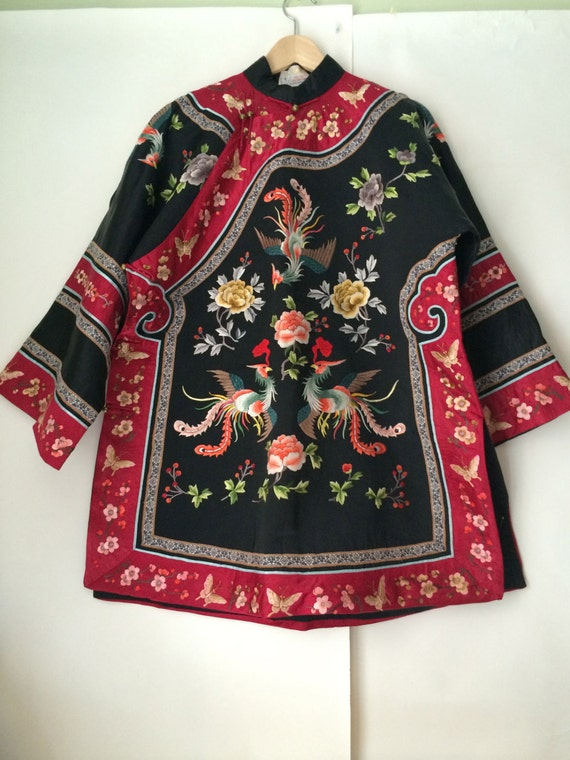 2pcs Blue Chinese Handmade Silk Embroidery Dragon /& Phoenix Cushion Covers