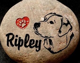"""Personalized Pet Memorial Stone, 9""""- 10"""" or 7""""- 8"""", Engraved, Burial Grave Marker, Labrador, Labrador Retriever, Lab, Dog, FREE SHIPPING"""