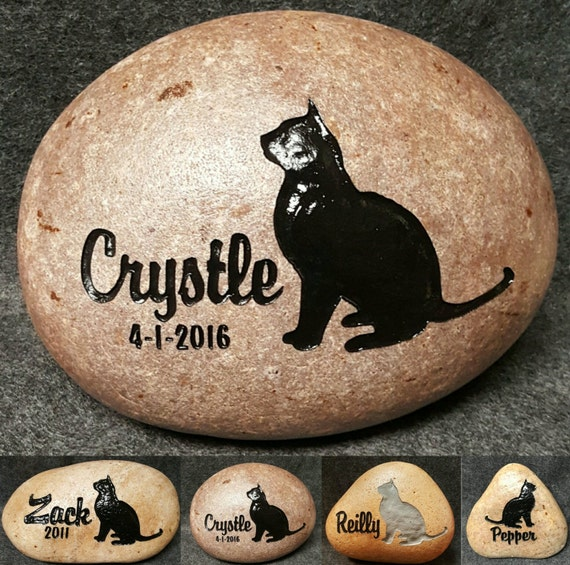 """Pet Cat Memorial Stone 7""""/8""""or 9""""/10"""" Engraved Personalized Stone, Burial Grave Marker, Sitting Cat, Kitten Kitty Dog Cat Free Shipping"""