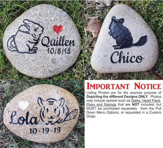 """Pet Memorial Chinchilla Stone 5""""/6"""" or 7""""/8"""", Engraved Personalized Stone , Indoor Outdoor, Grave Burial Marker, Rembrance Gift, Chinchilla"""