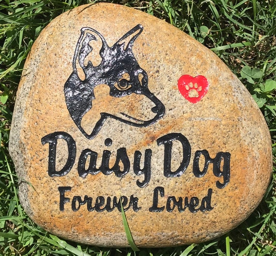 """Personalized Pet Memorial Stone, 7""""- 8 or 9""""- 10"""",  Mini PinScher, Rottweiler, Doberman, Doberman, Dog, Rottweiler, Dobermann, FREE SHIPPING"""