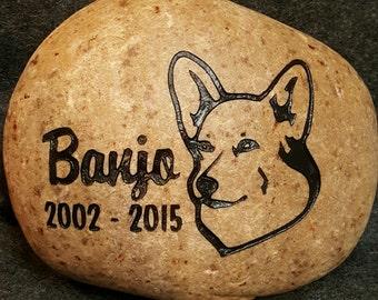 "Personalized Pet Memorial Stone 7""-8"", Corgi Pembroke, Welsh, Engraved, Grave Marker, FREE SHIPPING"