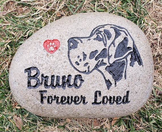 """Pet Memorial Stone Any Breed Dog Custom 9""""/10""""or 7""""/8"""" Stone Rock, Options: Date & Saying, Dog Cat Grave Marker, Free Shipping"""