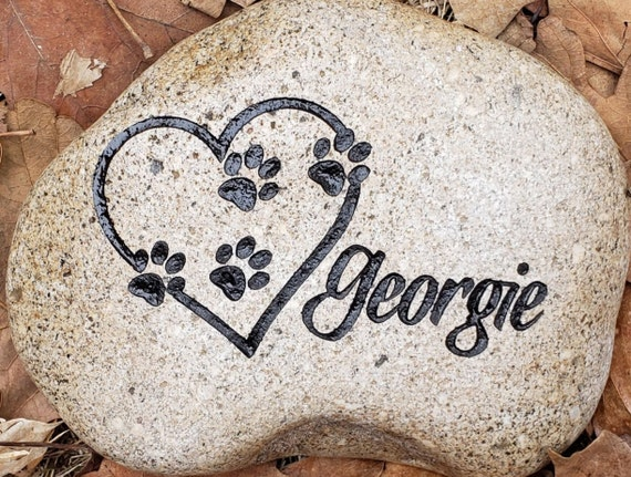 """PET MEMORIAL Stone 7""""/8"""" or 9""""/10""""(approx. size) Dog Cat Left Paw Prints on My Heart,  Left Paw Prints on Our Heart. Personalized Engraved"""