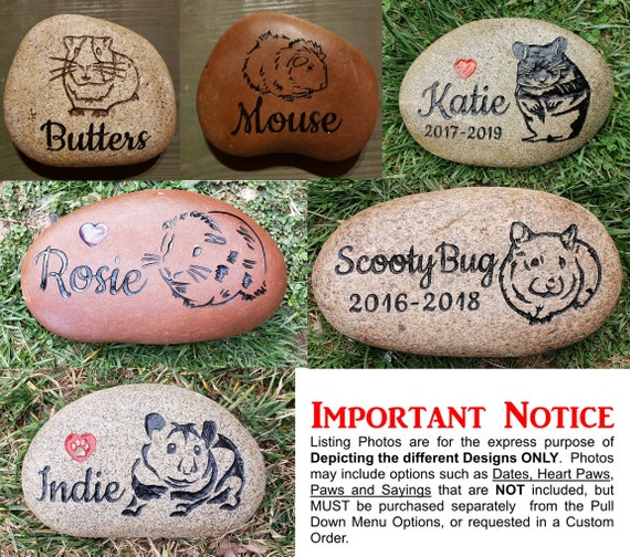 """Personalized Pet Memorial Stone, 9""""- 10""""or 7""""- 8"""", Engraved, Grave Burial Marker, Guinea Pig, Hamster, Gerbil, FREE SHIPPING"""