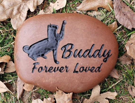 """Personalized Pet Memorial Stone, 9""""-10"""" Lg or 7""""-8"""" Med, Engraved, Burial Grave Marker, Silhouette Cat, Cats, Kitty, Kitten, FREE SHIPPING"""