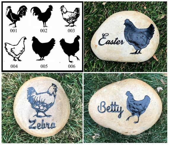 """CHICKEN ROOSTER or HEN Memorial (6 Different Designs) Stone between 9""""/10"""", 7""""/8""""or 5""""/6"""" Engraved. Option to add Date, Little Heart"""