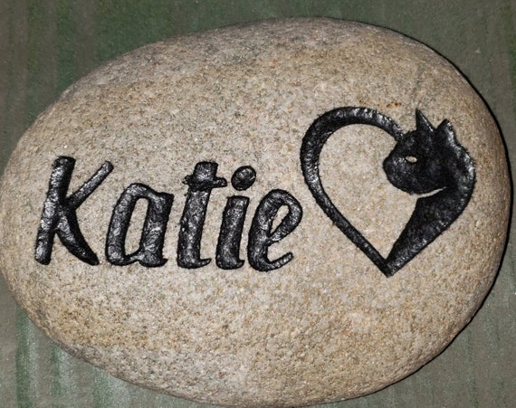 """CAT-HEART MEMORIAL Stone, 9""""/10"""" or 7""""/8""""  Personalized Engraved Grave Burial Marker, Heart Cat, Kitten, Kitty .  Free Shipping"""