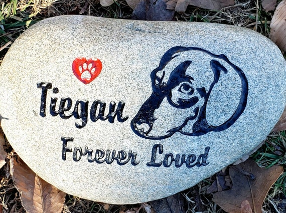 """Pet Memorial Stone Dachshund Custom 9""""/10"""" & 7""""/8"""" Stone Rock, Indoor or Outdoor, Dog any Breed, Pet Grave Burial Marker, Remembrance Gift"""