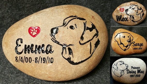 """PERSONALIZED Pet Memorial Stone, 7""""- 8"""" or 5""""- 6"""", Engraved,Grave Burial Marker, Labrador, Lab, Retriever, Dog, Puppy, Pup, FREE SHIPPING"""