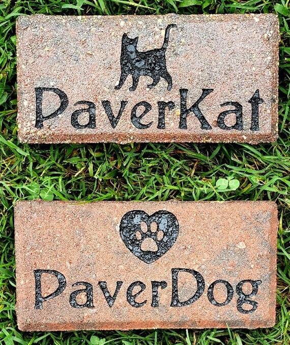 """Personalized Pet Memorial, Engraved, Paver Brick, 4""""x 8"""", Indoor Outdoor, 6 Colors and 6 Designs Available, FREE SHIPPING"""